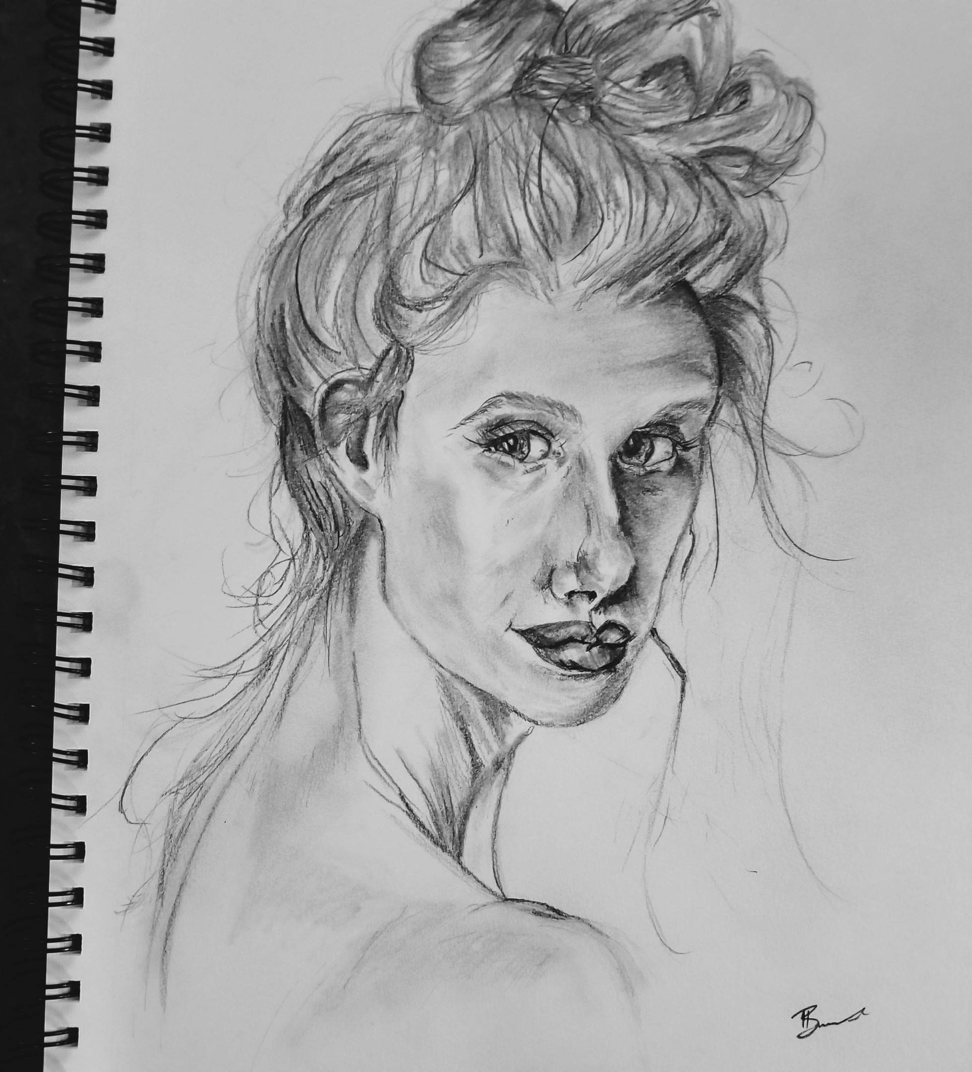 Original portrait drawing graphite pencil 11x14 inches mixed media paper black and white contrasting image photo reference great gift