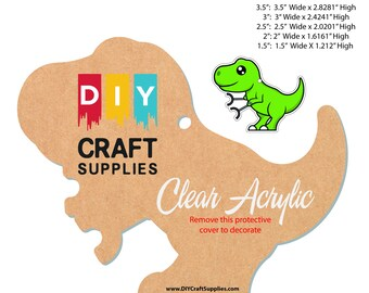 Package of Unstoppable Trex  Acrylic Craft Blank for Key Chains
