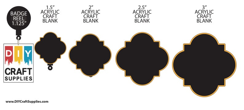Package of 3 Quatrefoil Acrylic Craft Blank for DIY Projects