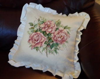 Antique Roses Cross Stitch Pillow