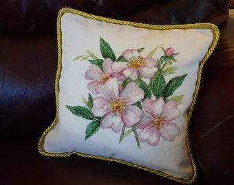 Light Pink Wild Roses Cross Stitch Pillow