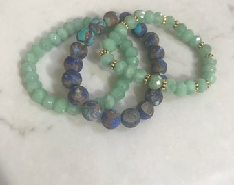 Turqouise, Lapis and Jade stack