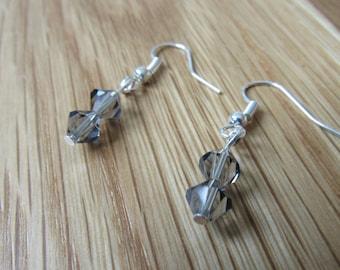 Gray Swarovski crystal silver earrings