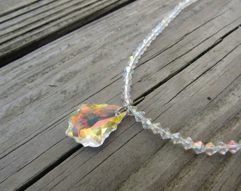 Sparkly crystal beaded necklace with silver chain