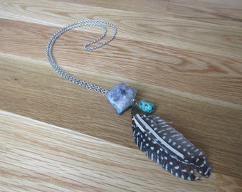 Amethyst, turquoise, and feather silver necklace