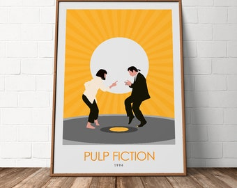 Pulp Fiction Minimalist Movie Poster Alternative Art John Travolta Print Wall