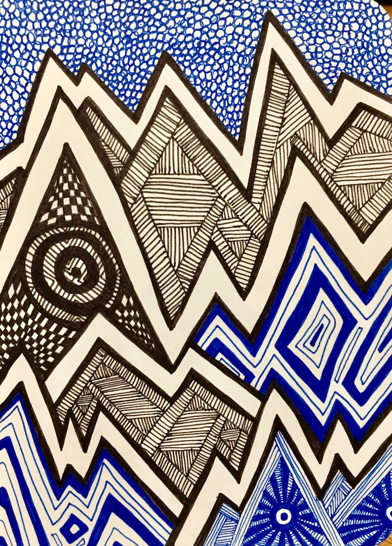 Black and Blue Zentangle Mountains