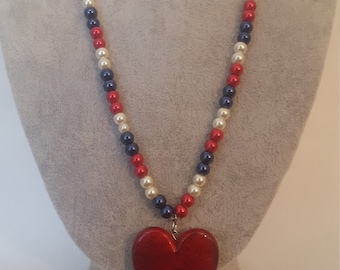 Independence Day, 4th of July, Red, White, and Blue Beaded Necklace with Red Heart Pendent