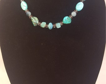 Turquoise Colored Natural Shells and Crystal Clear Beaded Necklace