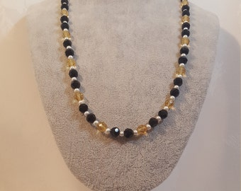 Gold Crystal Faceted Beads, Black Glass Faceted Beads, White Pearls, Necklace