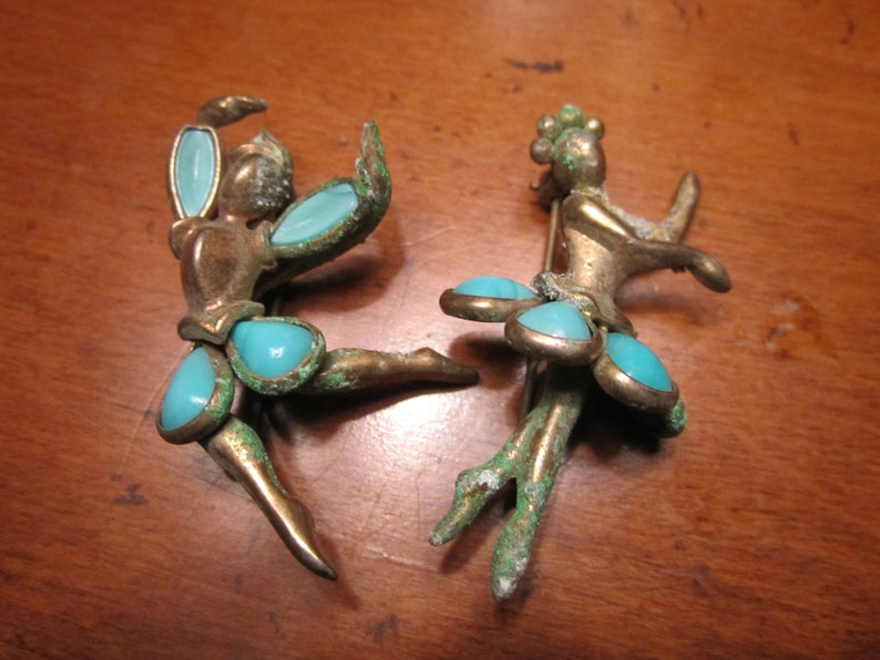 Antique, Vintage, Avant Garde, Rare, Unique Costume Jewelry, Ballet Pair,  Sleeping Beauty Turquoise, Brooch, Pin