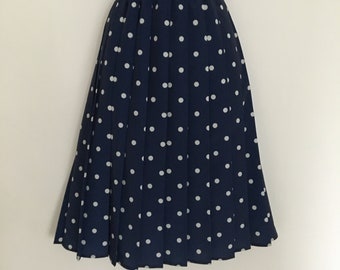Vintage rockabilly retro navy blue and white  polka dot pleated skirt size 14-16