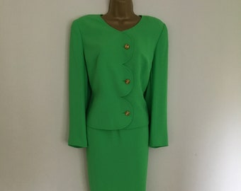 Amazing wedding neon apple green 80s vintage power Frank Usher skirt suit mother of the bride ascot races size 12-14