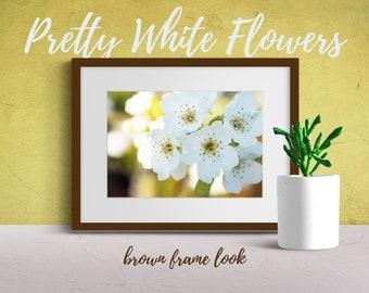 Pretty White Flowers   Wall Art   Modern Photography   Digital Download