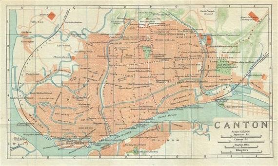 Original 1924 Map of Canton (Guangzhou), China