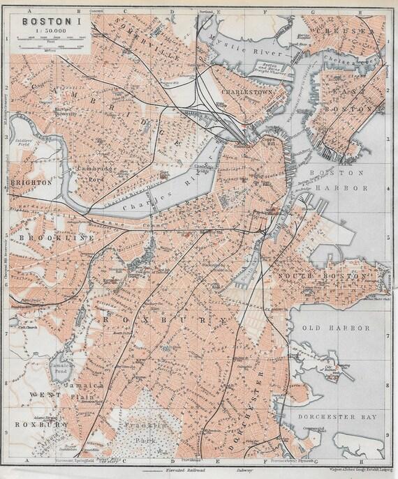 Original 1909 Map of Boston and suburbs