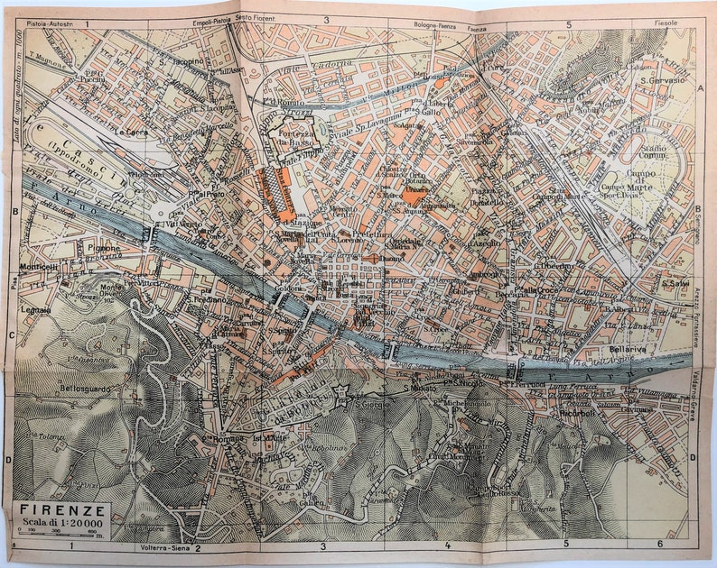 City Map Of Italy In English.Original 1949 Map Of Florence Italy