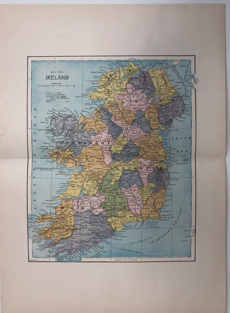 Map Of Ireland To New York.Original 1885 Map Of Ireland