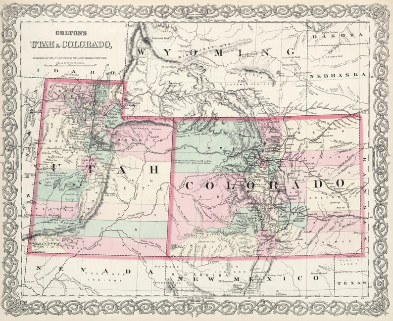 Original 1874 Map of Colorado and Utah