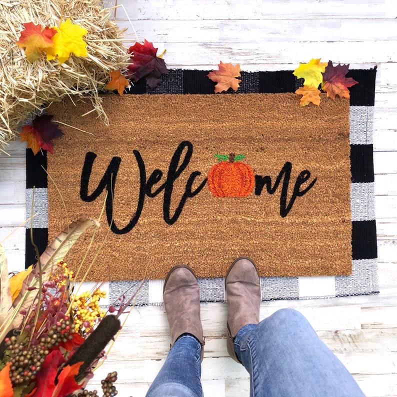 Welcome Fall Mat  Halloween Doormat  - Outdoor Halloween Decorations