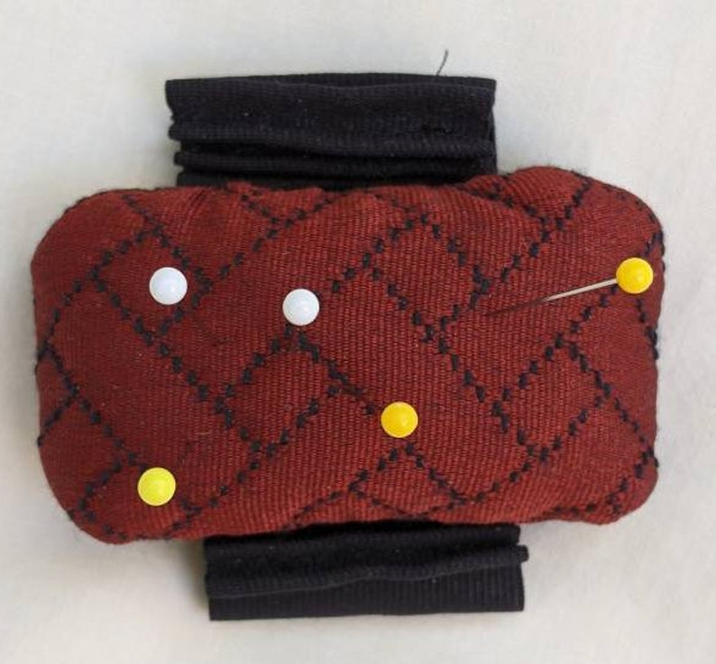 Designer red and black expandable elastic wrist pincushion FabMo OOAK
