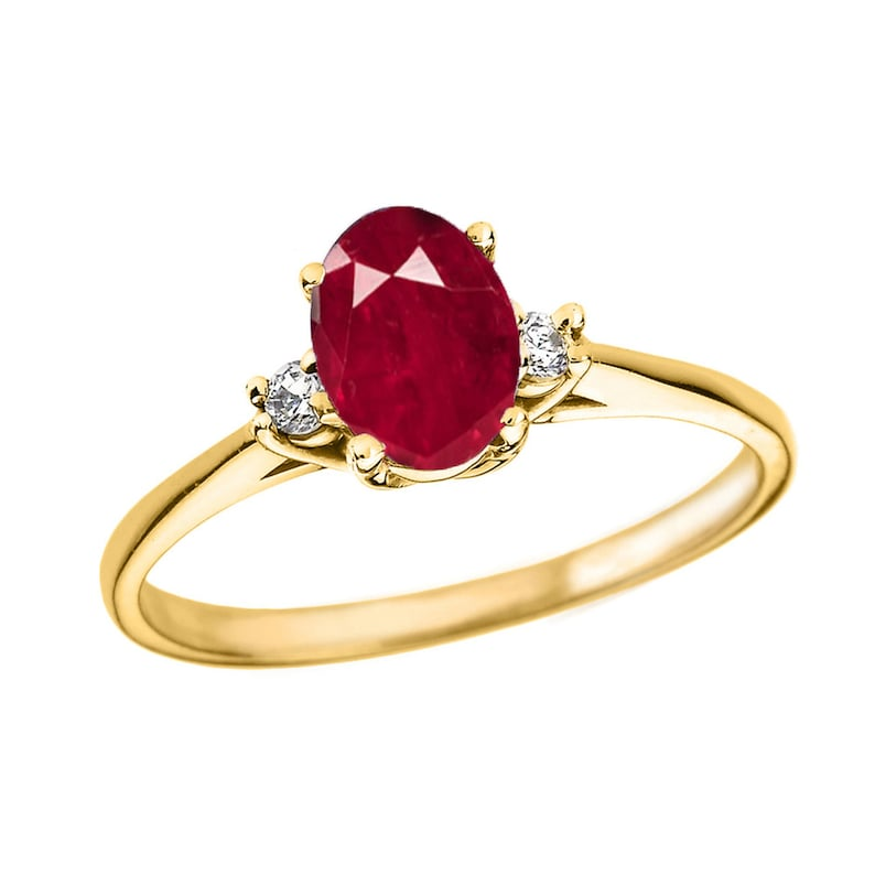 yellow gold oval ruby and diamond engagement proposal ring