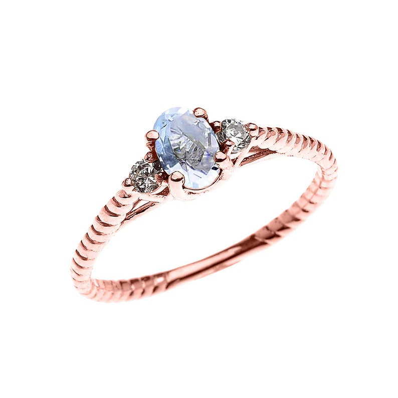 Dainty Rose Gold Aquamarine Solitaire Rope Design ENGAGEMENTPROMISE RING