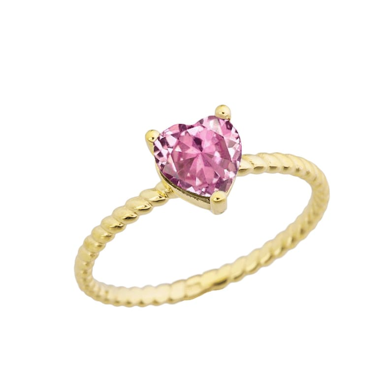 DAINTY PINK CUBIC Zirconia Heart Rope Ring In Yellow Gold