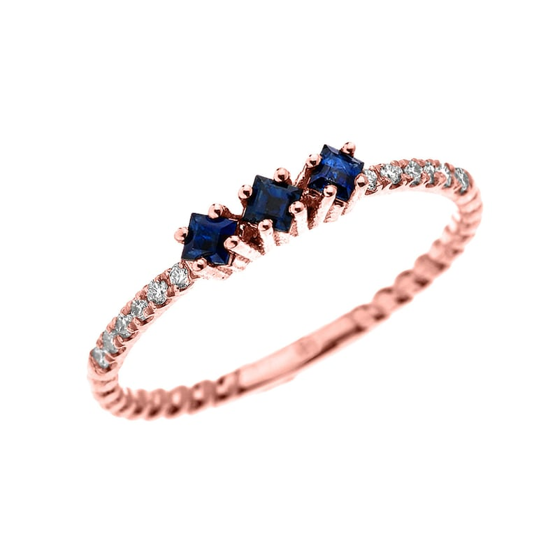 Rose Gold Dainty Three Stone Sapphire And Diamond Rope Design ENGAGEMENTSTACKABLE RING