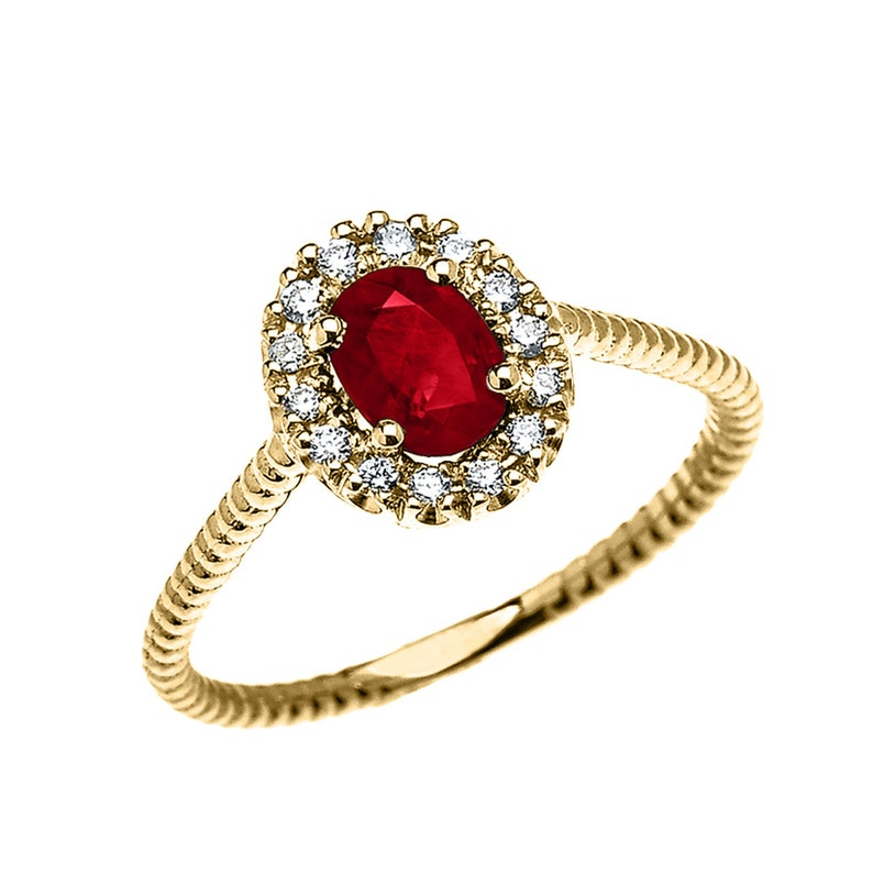 Yellow Gold Dainty Halo Diamond And Oval Ruby Solitaire Rope Design ENGAGEMENTPROMISE RING