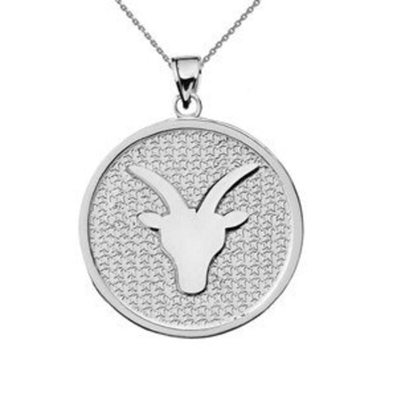 White Gold Capricorn Zodiac Disc Pendant Necklace