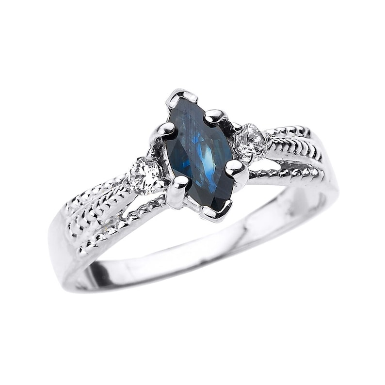 white gold genuine blue sapphire and diamond proposal ring