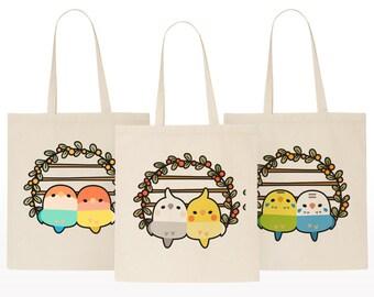 7fac734989 Sweet Birdies Pair ( Budgie / Cockatiel / Lovebird ) Large Cotton Tote Bag