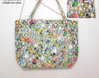 Bird Loafs Zipper Tote Bag **blurry misprint - please see photos & description!