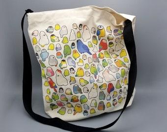Chickadee Purse Cross Body Tote Birder Gifts Chickadee Bag Cat Lady Gifts Tan Canvas Field Bag Bird Lover Gift Cute Bird Messenger Bag