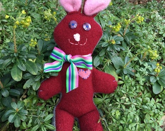 Recycled Felted Wool Sweater and Cashmere Toy Easter Bunny Child's Handmade Gift