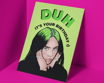 Billie Eilish Christmas Card Funny Gift Bad Guy Holiday Greeting Card Single or Pack of 8
