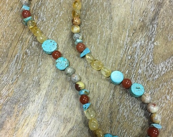 Turquoise, citrine and red carnelian necklace with brass peace lobster claw clasp.