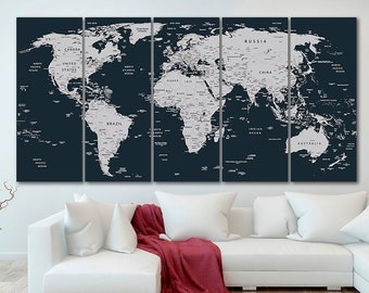World map canvas | Etsy