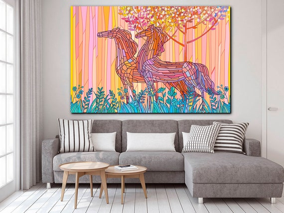 Stained glass canvas Stained glass horse Mosaic horse art Nursery decor Mosaic wall art Nursery art prints Abstract nursery decor Kids room
