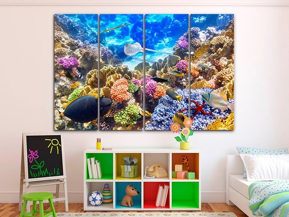 Coral canvas Coral wall art Sea canvas Tropical print Beach poster Nature decor Seaweed art Under the sea canvas Beach print Gift for wife