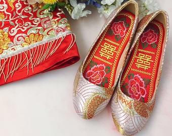 aba5aded045b1 MORE DESIGNS / Traditional Brocade Chinese Bridal Heels/ Chinese Bridal  Shoes / Qunkwa Bridal Heels / Qipao Bridal Heels / 婚鞋 / 新娘鞋