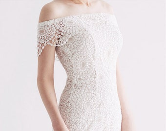 d78a77780d7 Italian Lace Wedding Dress   Vintage Wedding Dress   Classic Wedding Dress    Off The Shoulder Wedding Dress   Two Piece Dress - WD10905