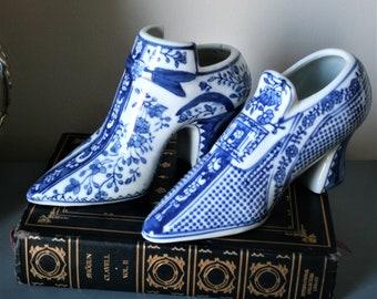 Vintage Blue and White Porcelain Shoes