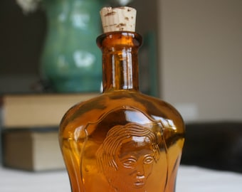 Amber Glass Bottle With Portrait