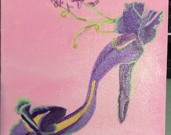 Paint acrylic shoe iris flower