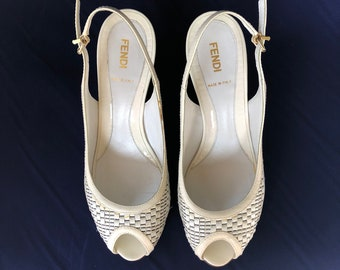 Vintage FENDI White Peep Toe Wedges 39.5