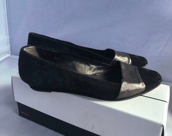 Joan and David Vintage Black and Silver Flats Sz 8.5B