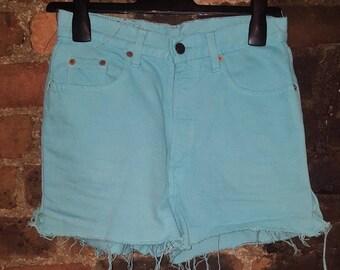 Ladies UK 10 12 W30 Vintage 1990's Levi's Reworked Aqua Blue Dyed Shorts