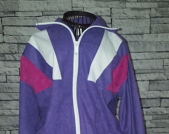 b188d40e35f Unisex Size Small UK 8 10 Vintage 1980's Purple White Block Print Track  Jacket Rave